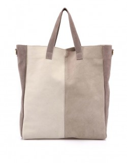 Krémovo šedá kožená taška