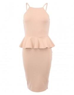 Decentní béžové šaty s ramínky