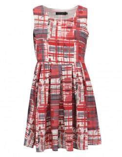 Červené vzorkované šaty ala 60. léta