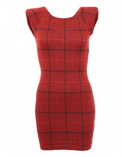 Staronové červené šaty s kostkovaným vzorem