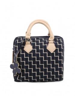 Krémovo-modrá kabelka se vzorem