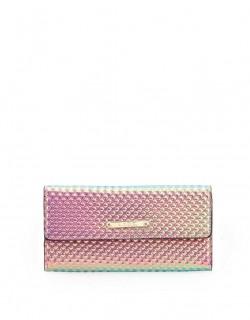 Růžová holografická peněženka s plastickými pyramidami LYDC