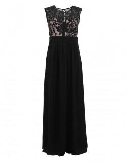 Dlouhé černé šaty na ples s krajkou