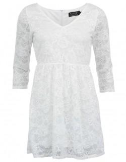 Bílé krajkové šaty s dlouhými rukávy