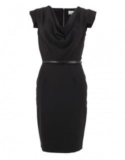 Černé plesové šaty pod kolena s páskem