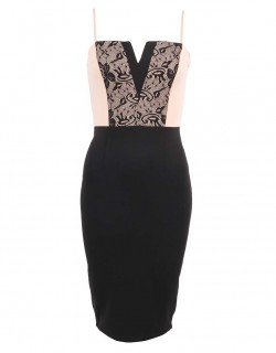 Černo krémové šaty s decentní krajkou