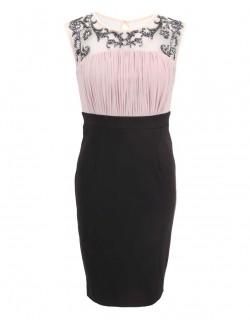 Růžovo černé šaty z 30.let