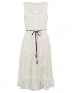 Retro bílé dlouhé šaty